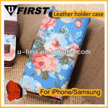 Good quality flower leather case for iphone 5c