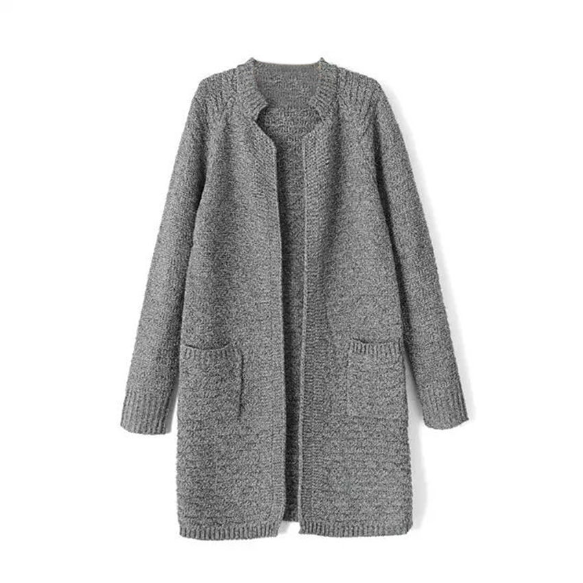 Buy Winter Stand Collar Pockets Long Knitted Cardigan Women Long