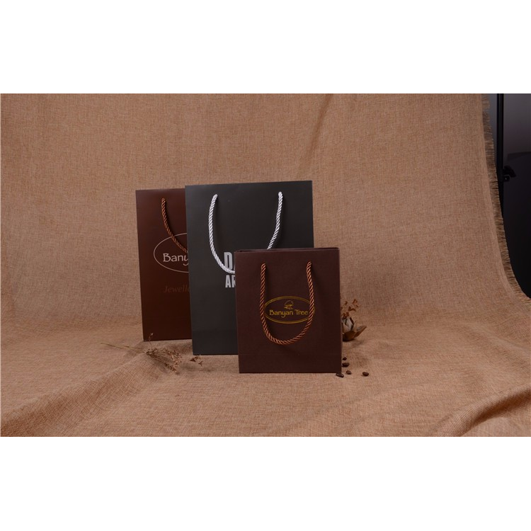 Directly sale fashion design mature dark color classic style mature paper bag with rope handle