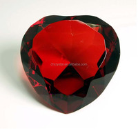 fashion red heart shape crystal diamond ,crystal diamond shaped paperweight for wedding gifts MH-9265