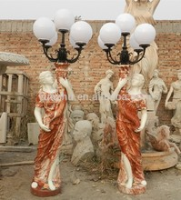 European style Marble Garden lady with lamp sculpture