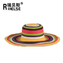 ladies fashion sun beach hat wide brim straw hat colorful