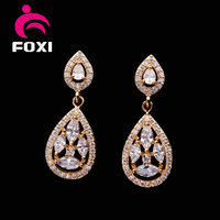 cheap drop pear shaped 14k gold plated fashion jewelry earring for young women