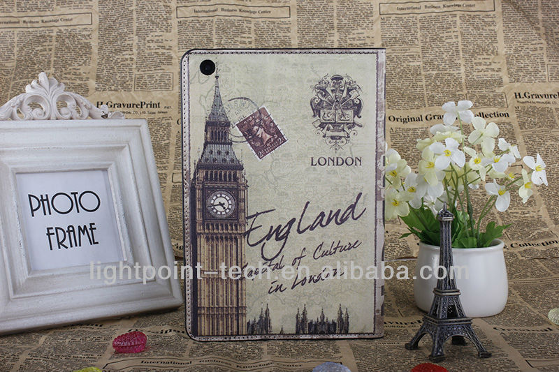 UK Big Ben Tower of London stand leather case for ipad, case for ipad supplier,case for ipad manufactory