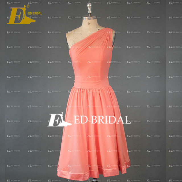ED Bridal Elegant One Shoulder A Line Knee Length Chiffon Peach Red Bridesmaid Dress 2017