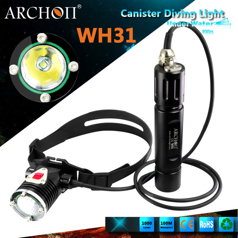Archon CREE XM-L U2 3-mode 100M 1000Lumen Canister LED Diving Light / Diving Headlight