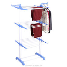 3 layer towel shoes drying rack standing metal folding clothes rack with wheel