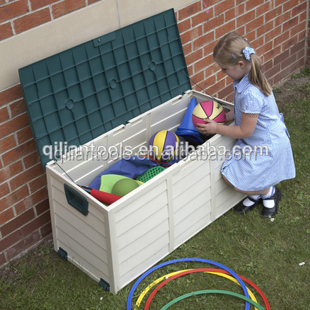 Garden outdoor plastic storage box, chest, shed,cushion case with wheels