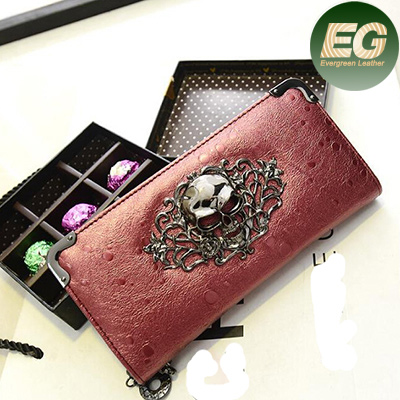 China wholesale clutch purse ladies shinny wallet new designer skull wallets W6034