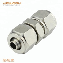 PU 1/4 union straight quick connect air press fitting connection copper gas pipe connector