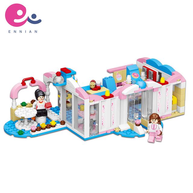 High quality children's plastic Girl world-two kinds of villa pool modelseries building blocks edccational toys