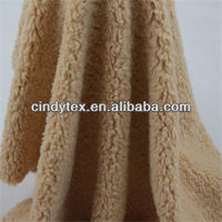 12mm camel plushed short hair soft 100% polyester shearling fake fur fabric