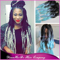 "2016 New Fashion! 20"" fold ombre black/light blue two tone synthetic braiding hair for women"