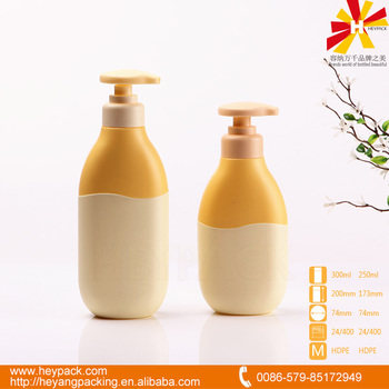 pe plastic bottle with pump dispenser for shampoo packaging