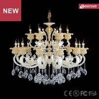 Wholesale European Hight ceiling White 18 lights Zinc alloy Crystal decoration crystal chandelier