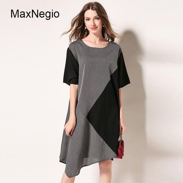 Maxnegio 2018 Contrast Color Stitching Irregular Plus Size Linen Dress Women