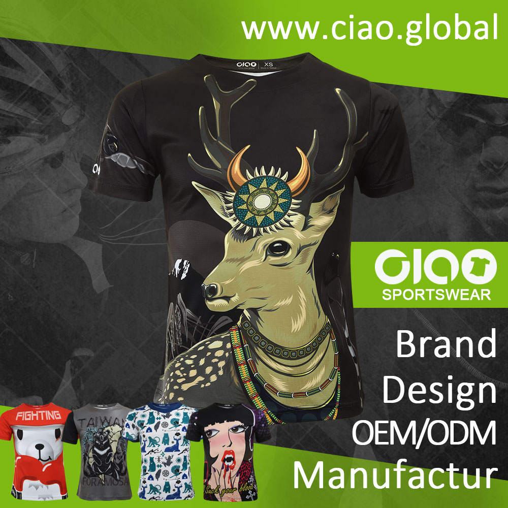 Ciao sportswear beautiful curve sublimated printing t-shirt buyers in europe with CE certificate