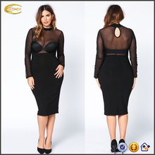 Ecoach Wholesale OEM Plus Size black sheer mesh dress Sexy High neckline long sleeves midi evening dress