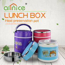 Wholesale cartoon stainless steel +plastic vacuum lunch box/food carrier with spoon