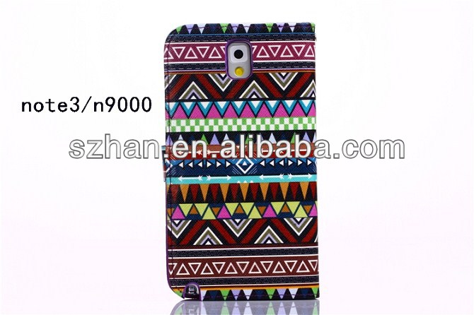 New Luxury Tribe Pattern Retro Leather Wallet Case For Samsung Galaxy Note 3 III N9000 GT-N9005