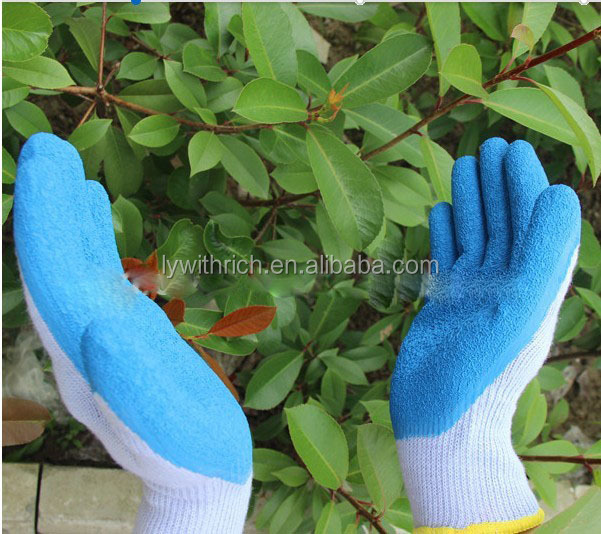 Poly cotton liner latex coated working gloves with foam finished latex gloves wholesale / heavy duty rubber gloves