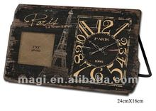 Antique Paris Decorative Wood Table Clock With Photo Frame