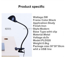 Iron long arm led desk lamp with lampshade clip adjustable table lamp