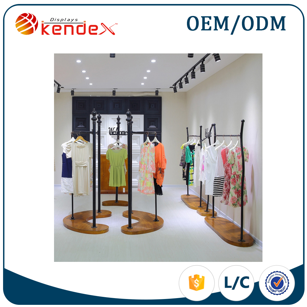 special design garment hanging display rack for modern shop counter design