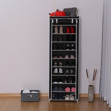 Portable 10-Tier Non-woven Fabric Shoe Display Rack Shoe Storage Cabinet Organizer With Cover