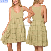 korea young lady daily dress light olive tiered scoop neck dress skirts women girl one piece evening mini dresses with sleeves