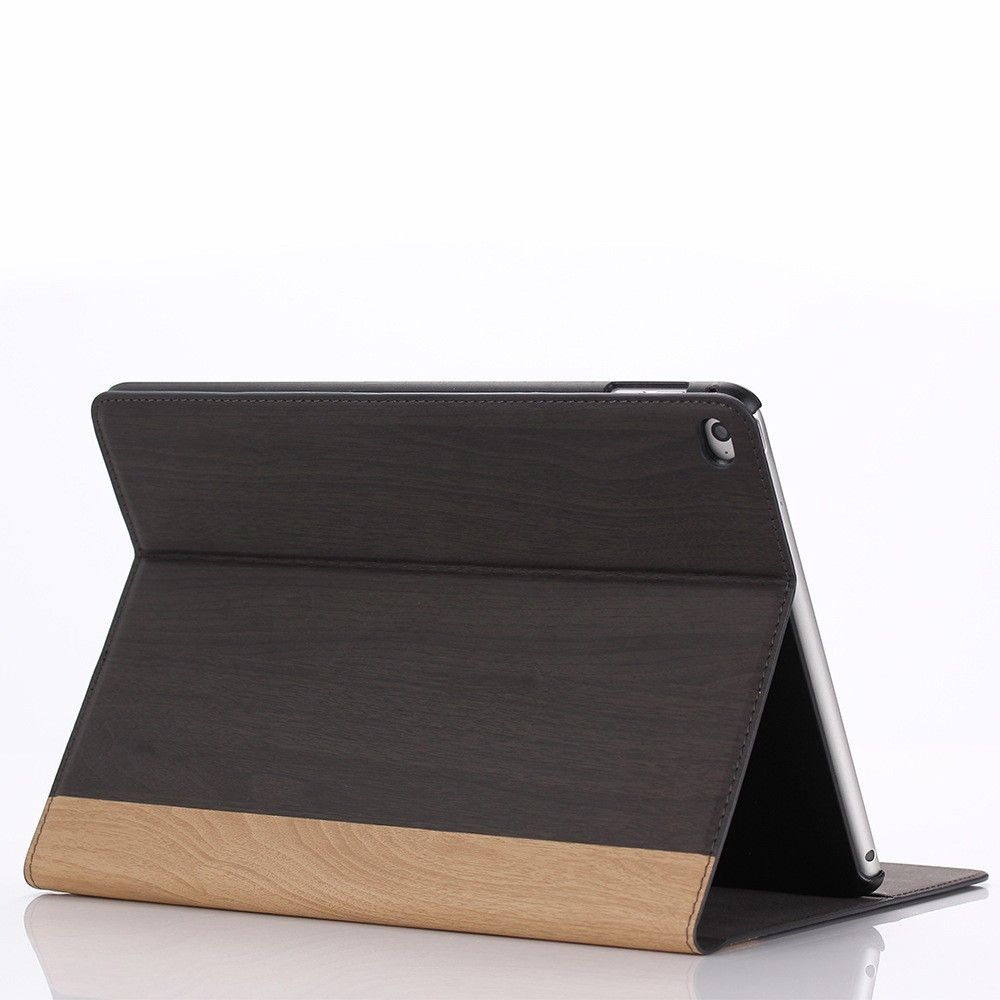 For iPad Air 2 Case,for iPad 6 Wooden Pattern Leather Cover with Card Slots