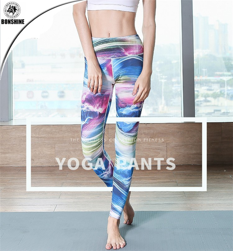 Personalized print yoga clothes sports fitness legggings women thin and light training dry high-elastic leg pants