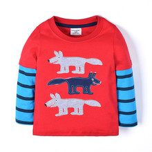 Wholesale china baby girl cotton striped with character red top design t-shirt