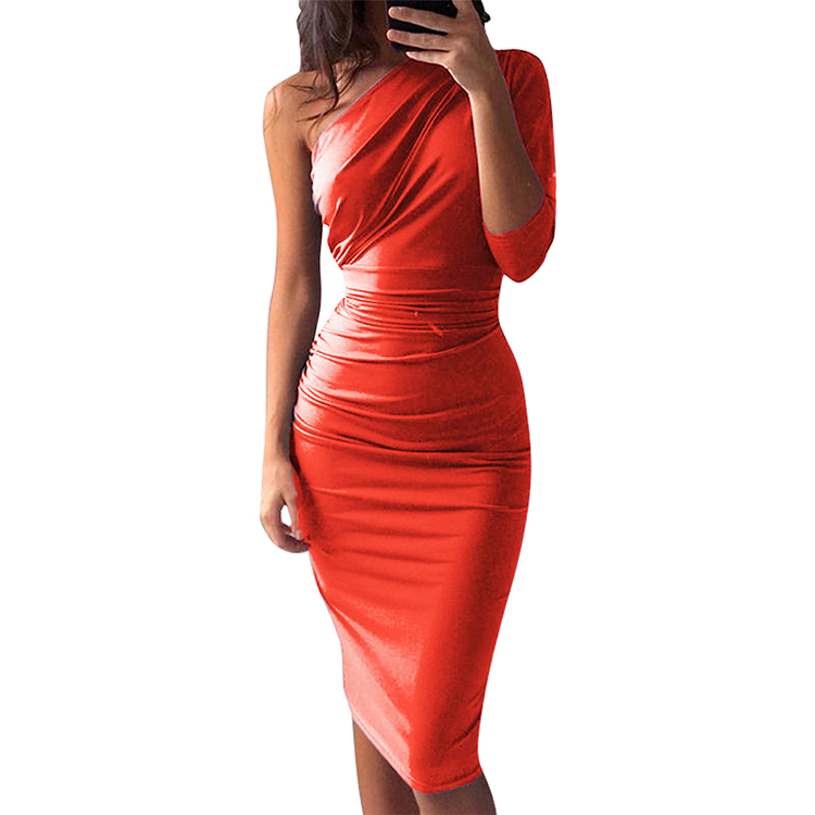 2019 Popular New Listing  Wrap One Shoulder Half Sleeve Party Wear Women Sexy Dress
