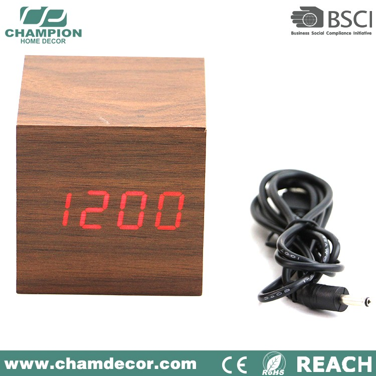 led wood square alarm clock , digital alarm table clock wood
