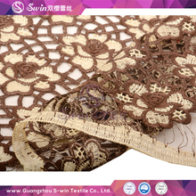 S-win Lace Genius Quality Beautiful Brown Color With Net Pattern Mesh Chemical Water Soluble Lace Fabric