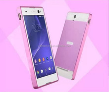 C3 Dual Layer Hybrid 0.5mm Metal Aluminum Bumper + PC Back Cover Case for Sony Xperia C3 S55t