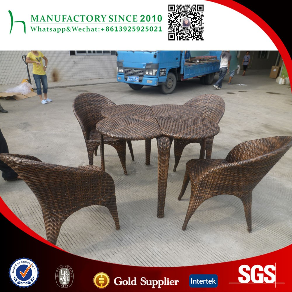 New design rattan table set hot sell cafe store table