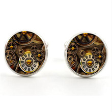 New time gem cufflinks vintage original punk gear clocks and watches men's clothing cufflinks