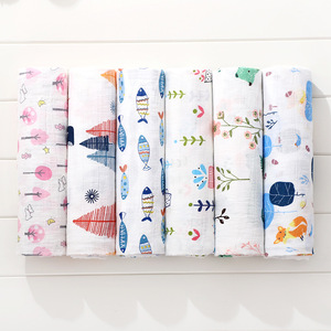 FACTORY Wholesale 100% cotton printed muslin swaddle blanket custom print fabric available