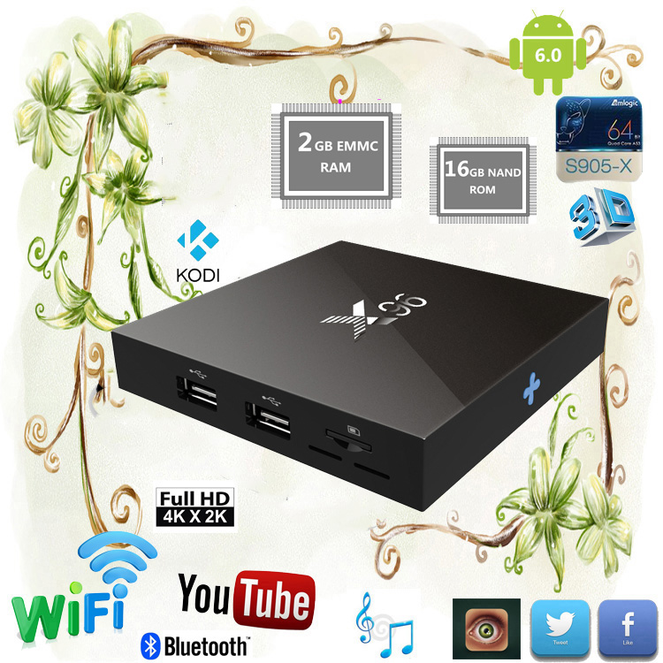 Smart google media player X96 S905X Android 6.0 Marshmallow TV Box with Cheapest Price KODI 16.1 tv streaming box