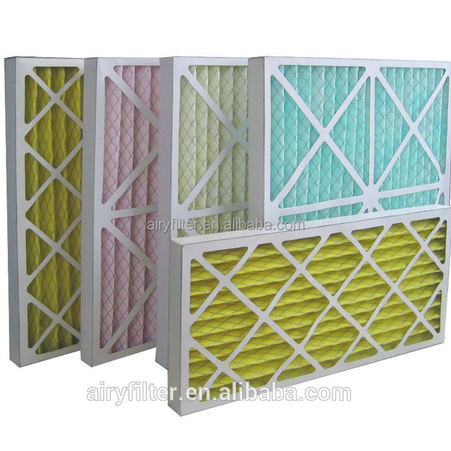 Airy hand made panel foldaway pre efficiency filter Air Conditioning kraft paper frame medium efficiency pleated filter