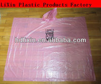 100% disposable raincoat plastic rain poncho/ full color printing for promotion