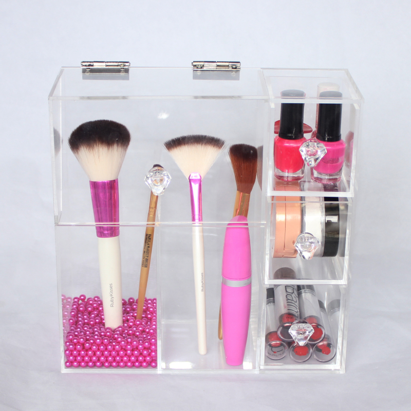 Custom Hinged Lid Lifewit Clear Acrylic Makeup Brushes Holder Box Organizer  With 3 Drawers Rosy Pearl Dec Pink , Buy Makeup Brushes Holder,Lifewit