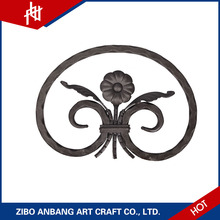 Ornamental aluminum balcony railing with wrought flat steel iron scrolls for outdoor stairs