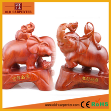 Lucky elephants in pair home decoration wood carving