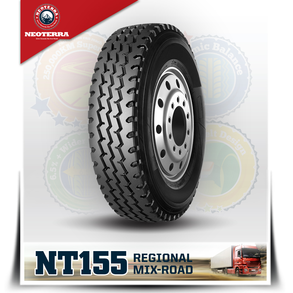 Chinese New brand NeoTerra truck tyre with quality warranty,TBR 12.00R24 with overload ability,Mix road condition All position