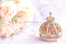 100% Handmade Metal Enamel Crystal Jewelry Boxes Crown Shape Trinket Box with Rhinestone Decoration Gift