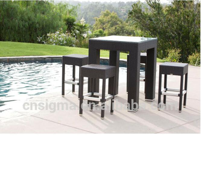 2017 Trade Assurance best price outdoor synthetic rattan metal unique discount patio bar table set furniture