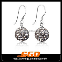 12mm crystal ball shamballa earrings